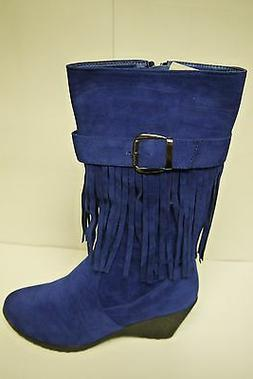 Women's Forever Link Shine 7 Blue Mid Calf Boots Multiple Si