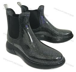 Women's Short Rain Boots Ankle Glitter Elastic Waterproof Ga