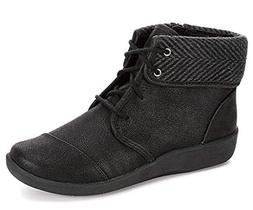CLARKS Women's Sillian Frey Boot, Black Synthetic Nubuck, 8