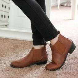 Women's Slip On Low Chunky Heel Ankle Booties Faux Leather E