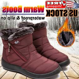 Women's Snow Ankle Boots Winter Fur Lined Warm Waterproof Ou