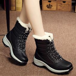 Women's Snow Boots Lace up Winter Waterproof Plus Velvet Hig