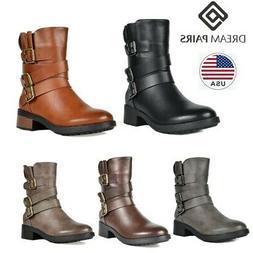 DREAM PAIRS Women Combat Boots Winter Mid Calf Faux Fur Low