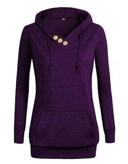 VOIANLIMO Women's Sweatshirts Long Sleeve Button V-Neck Pock