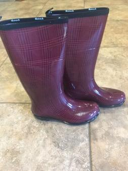 Kamik Women's Tall Rain Boots/Red and Black Houndstooth Chec