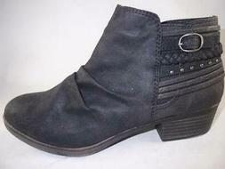 RAMPAGE Torrie Women's Ankle Boots Black Strappy Zip Up Bike