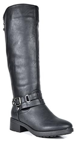 DREAM PAIRS Women's Uncle Black Knee High Motorcycle Riding