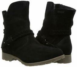 Teva Women's W Delavina Low Suede Mid Calf Boot, Black, 6 M