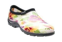 SLOGGERS WOMEN'S WATERPROOF GARDEN SHOE - CREAM PANSY PRINT