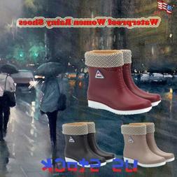 Women's Waterproof Rain Shoes Anti-slip Keep Warm Booties Mi