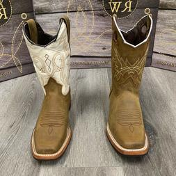 WOMEN'S WESTERN SQUARE COWGIRL BOOTS LEATHER BROWN HALF RUBB