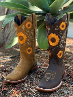 WOMEN'S WESTERN SQUARED SUN FLOWER SHAFT COWGIRL BOOTS SMOOT