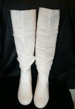 Top Moda Women's White Faux Leather Knee High Boots Size 8.5