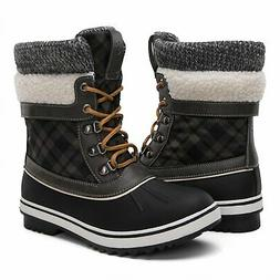 GLOBALWINGLOBALWIN Women's Winter Snow Boots Black/Grey 8.5