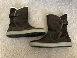 Birkenstock Women's Woodbury Suede Leather Boots Dark Brown