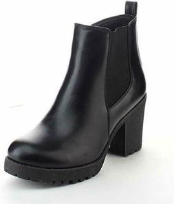 New Women's Ankle Boots Mid Heel Zip Short Booties Black Bro