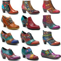 SOCOFY Women's Zipper Ankle Boots Mid Heel Leather Pumps Spl