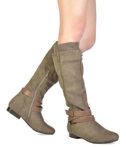 DREAM PAIRS Women's Zipper Winter Flat Zip Knee High Boots