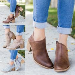 Women Short Chunky Ankle Booties Pointed Toe Mid Block Heel