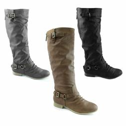 Top Moda Women Slouchy Mid Calf Knee High Boots Comfortable