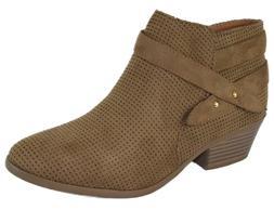 Soda Women Small Short Heel Ankle Boots Buckled Booties Zipp