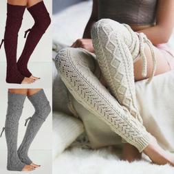 Women Winter Crochet Knitted Stocking Leg Warmers Boot Thigh