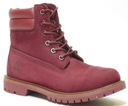 Timberland Womens 6 Inch Burgundy / Red Waterproof Double So