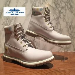 """Timberland Womens 6"""" Inch Premium Boots Leather White Grey P"""