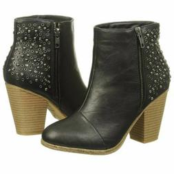 RAMPAGE Womens 6½ M Studded Ankle Boots Black Faux Leather