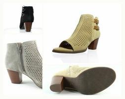 Vionic Womens Aloft Chryssa Suede Open Toe Fashion Ankle Zip