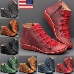 Womens Ankle Boots ARCH SUPPORT Suede Stitch Winter Shoes Ca