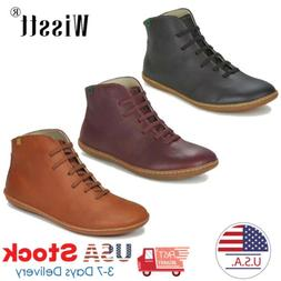Womens Ankle Boots Leather Flat Heel Booties Ladies Lace Up