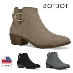 TOETOS Womens Ankle Boots Low  Chunky Heels Zip Up Winter Bo