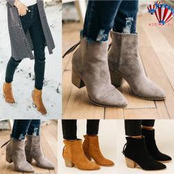 Womens Ankle Chelsea Boots Low Mid Block Hees Zip Up Booties