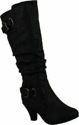 Top Moda Womens Bag-55 Knee High Buckle Slouched Kitten Heel