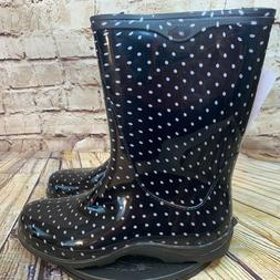 Sloggers Womens Black and White Polka Dot Rain Boots Size 10