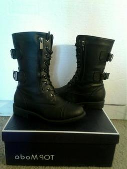 Womens Top Moda Black Mid Calf Combat Style Boots ~ Size 6 ~