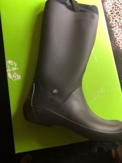 Crocs Womens Black Rubber Rain Boots Size 9