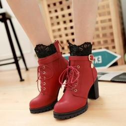 Womens Block High Heels Lace Lining Military Combat Lace Up
