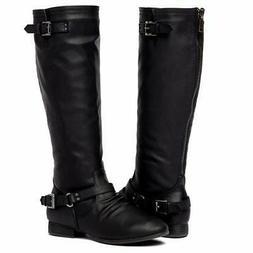 Women's Block Low Heel Knee High Boots Zipper Closure with
