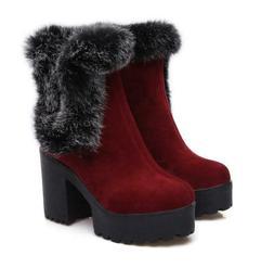 Womens Bootie Fur Trim Ankle Boots High Block Heels Platform