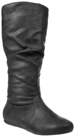 Womens Boots Flat Shoes Below Knee High Mid Calf Slouchy Fau