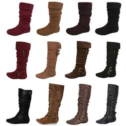 Womens Boots Mid Calf Fashion Flat Heel Riding Faux Leather