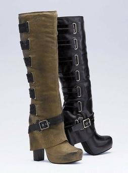 Womens Boots Over Knee Height Zipper Solid Fall Round Toe Hi