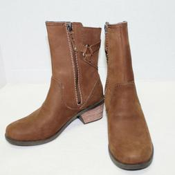 Teva womens boots size 6 brown leather Foxy mid boots stacke