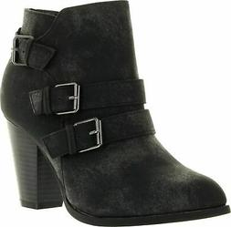 Forever Link Womens Camila-64 Fashion Chunky Heel Buckled St