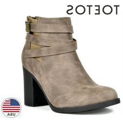 TOETOS Womens Chunky Booties Mid Block Heel Ankle Boots Zipp