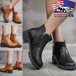 Womens Chunky Platform Ankle Boots Ladies Goth Punk Biker Zi
