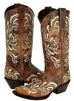 Womens Cognac Cowboy Boots Swan Embroidered Western Wedding