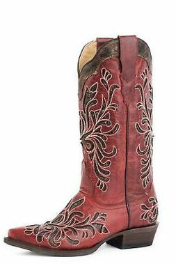 Stetson Womens Dark Red Goat Leather 13In Siren Cowboy Boots